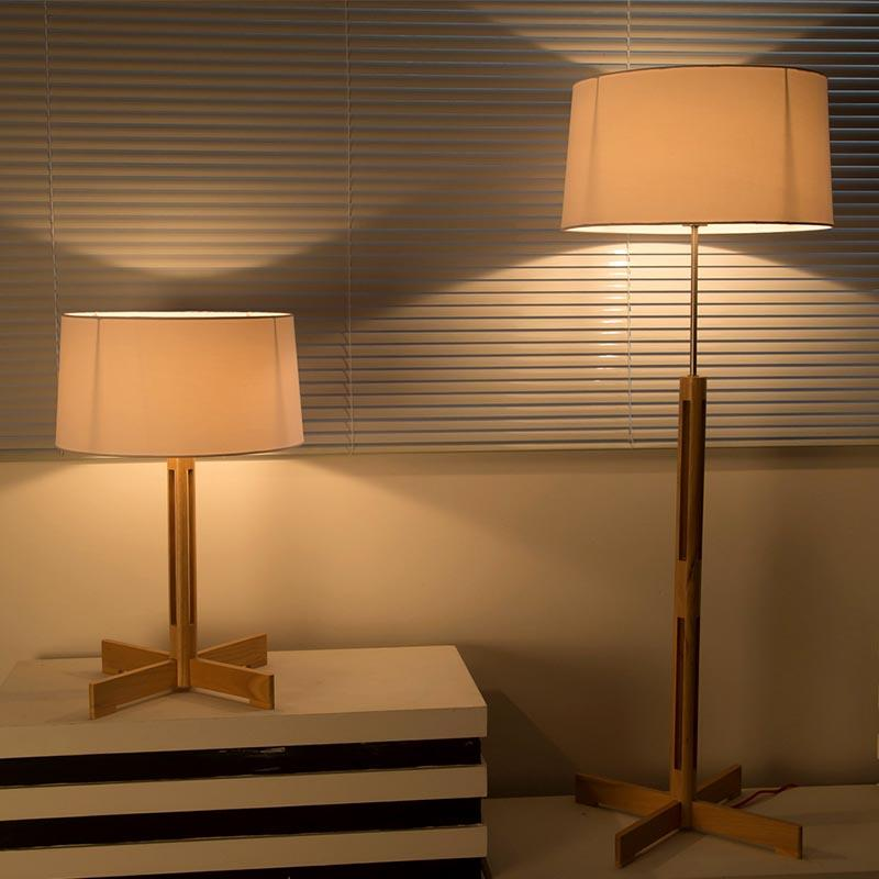 Minimalist Wooden Fabric Lamp Shade Table Lamp for Living Room M2041