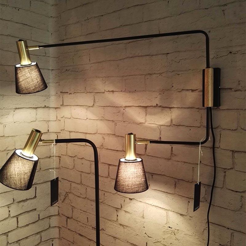 Modern Style Black Fabric Lamp Shade Series Dual Head Wall Lamp M40044