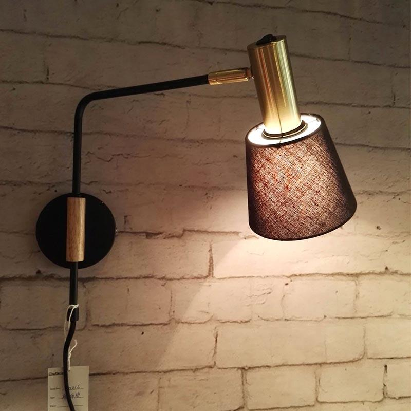 Modern Style Black Fabric Lamp Shade Series Single Head long Arm Wall Lamp M40045