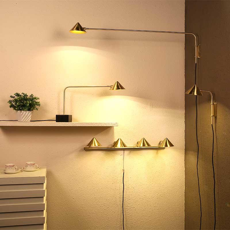 Straw Hat Series Contemporary Brushed Brass Long Arm Iron vintage wall lamp M10472
