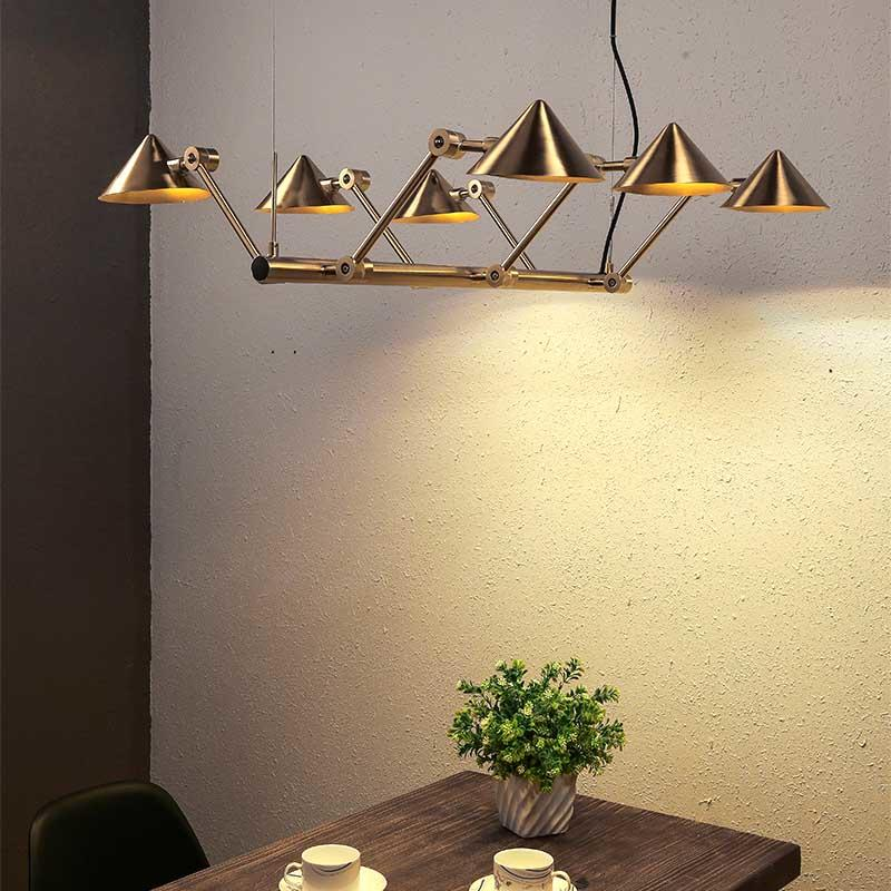 Straw Hat Series Contemporary Brushed Brass Multiple Head Iron Decoration Pendant Light M10510&10513