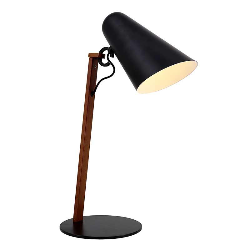 Unique Design Ice Cream Cone Shape Indoor Black Iron and Wooden Base Table Lamp M20042
