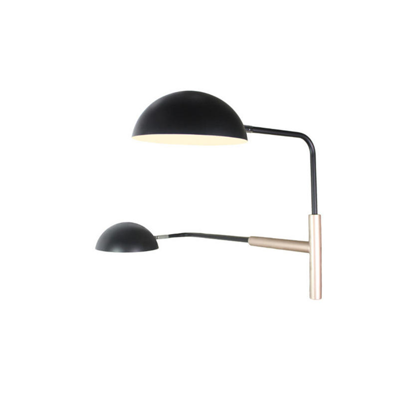 Simple Design Black Semi-Circular Dual Head Wall Lamp for Bedroom M10458