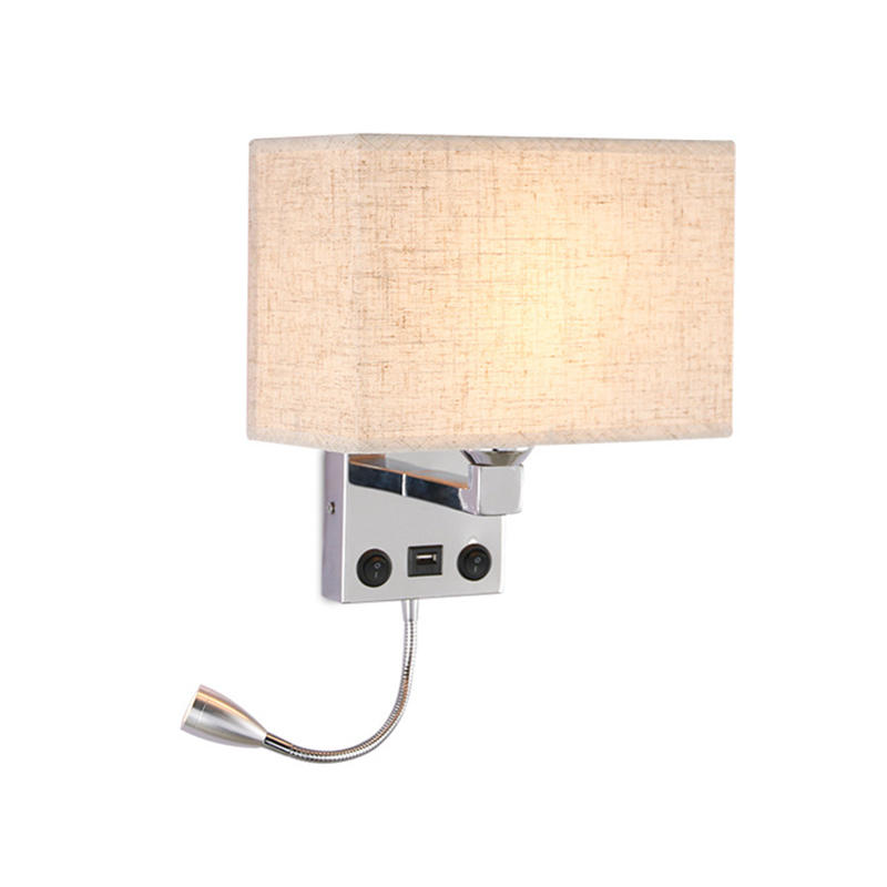 Hotel Bedside Wall Sconce with LED Reading Light and USB Charging Port M40148