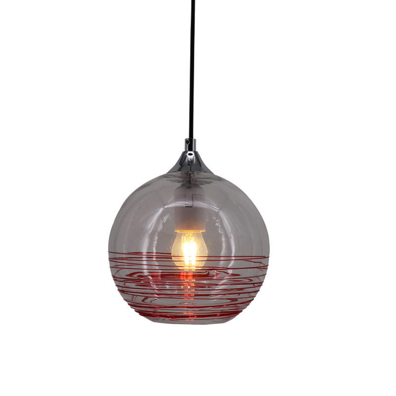 Round Glass Shade Red Pattern Hanging Light M10782