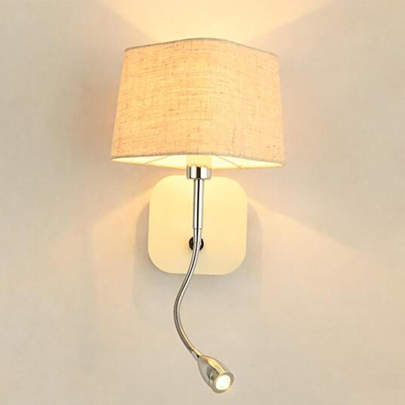 Fabric Lampshade Bedside Reading Wall Lamp for Hotel Room M40146