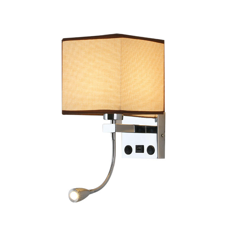 Hotel Wall Lamp with LED Reading Lamp and USB Chargeing Port M40261