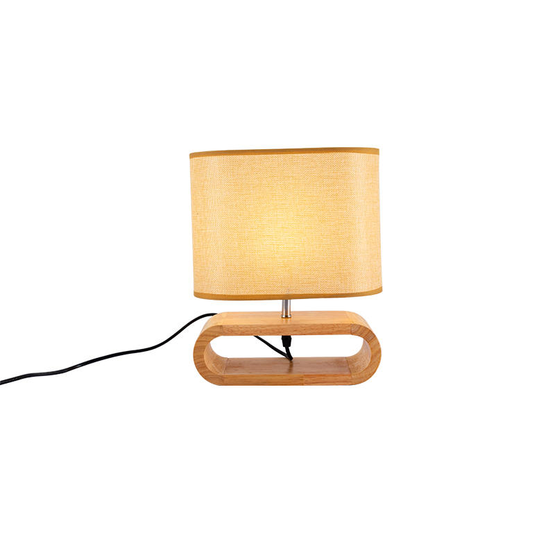 Fancy Table Lamp with Oval Lamp Shade and Wodoen Base M20171
