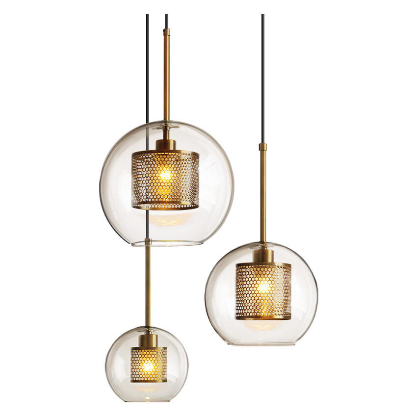 Vintage Modern Copper Glass Bubble Ball Pendant Lights for Living Room M10915