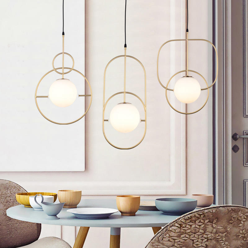Modern Copper Chandelier House Decoration with Glass Balls M10956