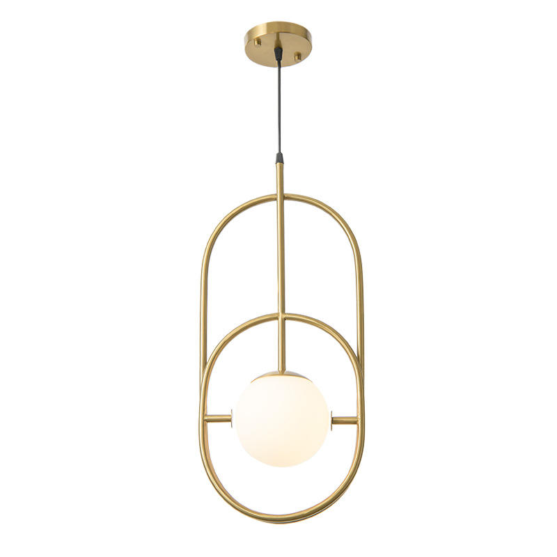 Minimalism Long Copper Pendant Light with Glass Ball for Living Room M10957