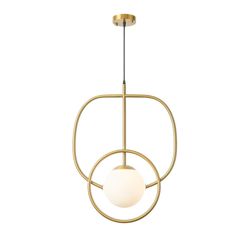 Minimalism Copper Hanging Light with White Glass Ball M10958