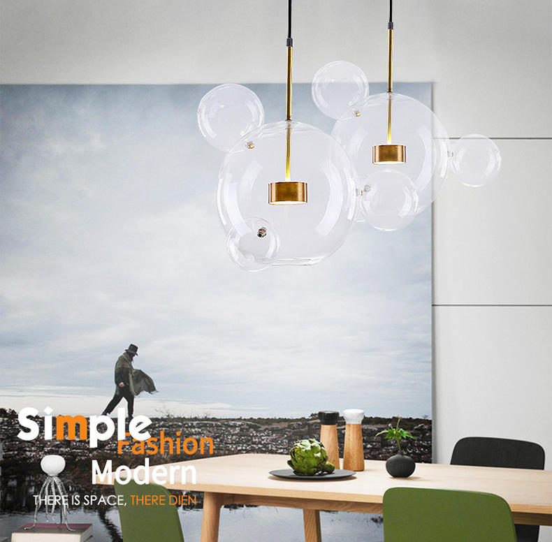 Modern Clear Bubble Ball Glass LED Chandelier for Living Room M10969