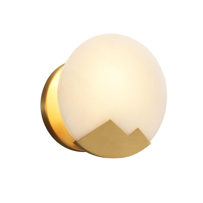 Moon Shape Luxury Copper and Marble Wall Lamp for Hotel Room M40278