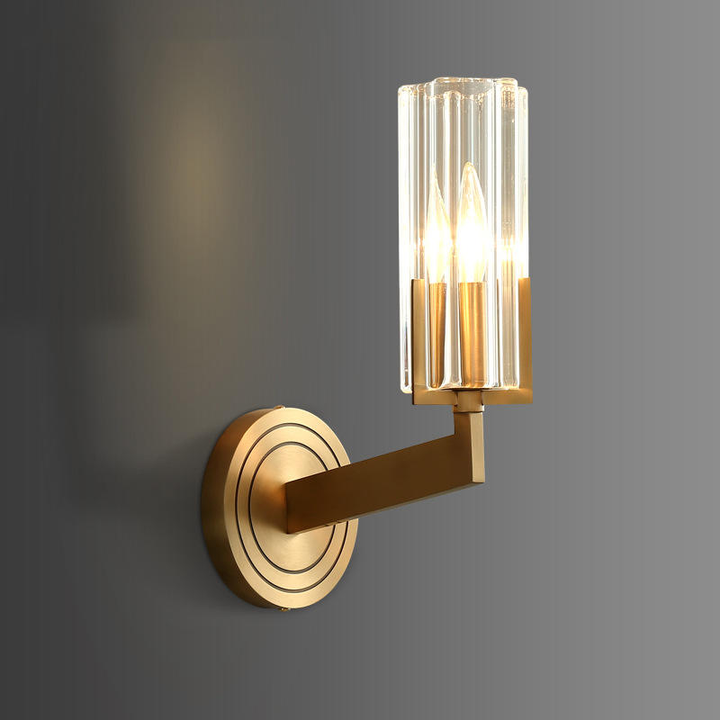 Modern Brass Copper Wall Lights with Luxury Cylinder Crystal Shade M40280