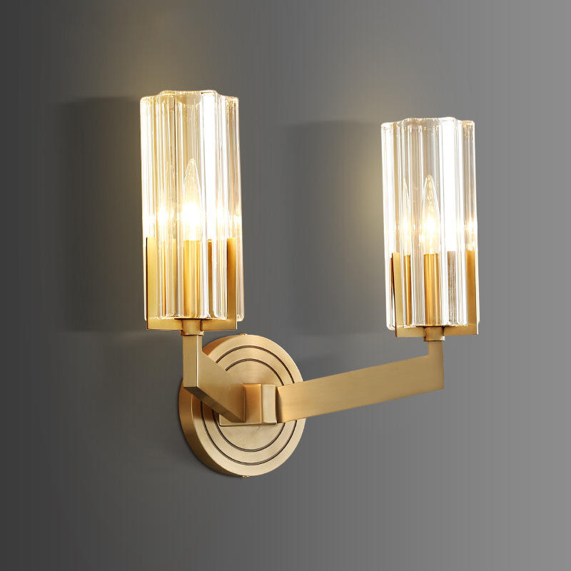Hotel Luxury Dual Head Copper Sconce with Transparent Glass Shade for Staircase M40281