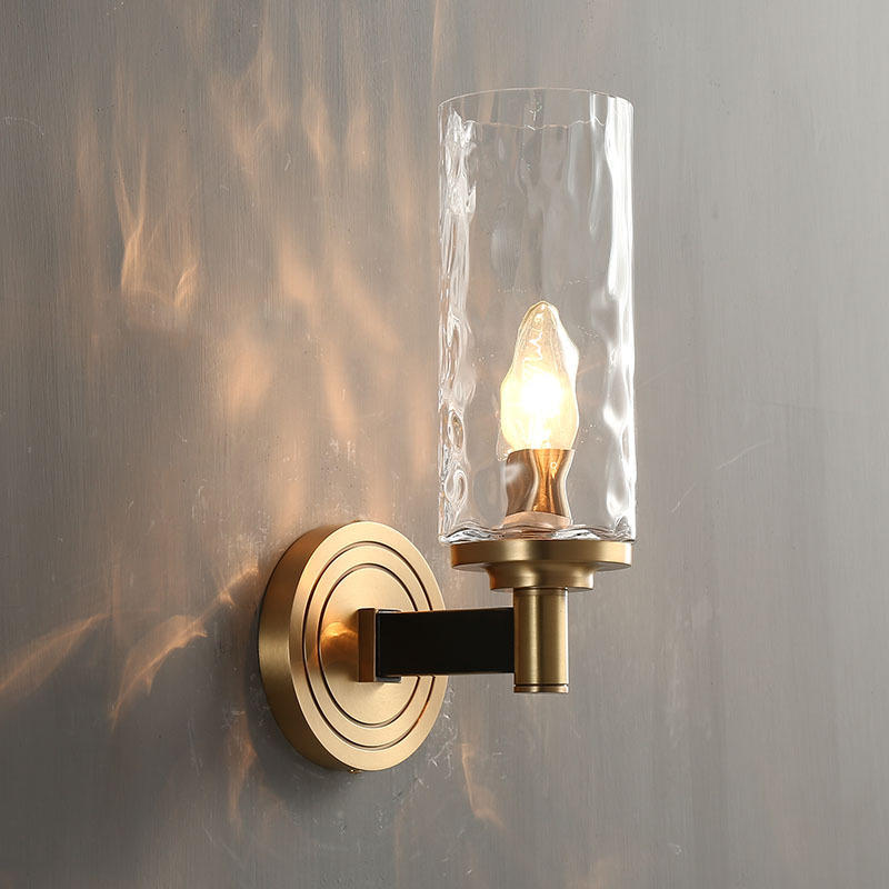 Mid Century Copper Candlestick Wall Mounted Sconces Glass Wall Lamp M40284