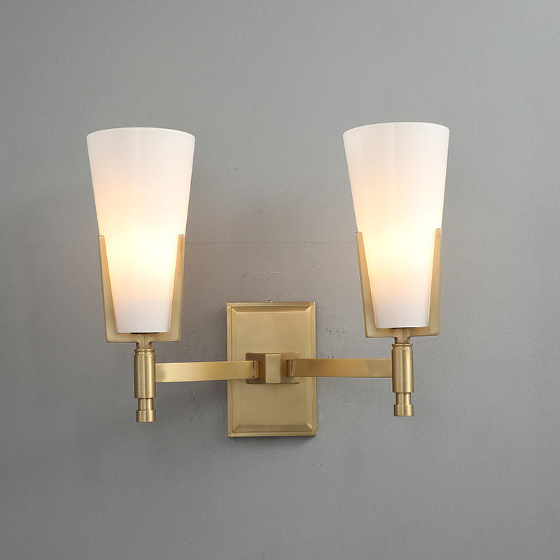 Double Glass Lamp Shade Copper Wall Lamp for Corridor Lobby M40287