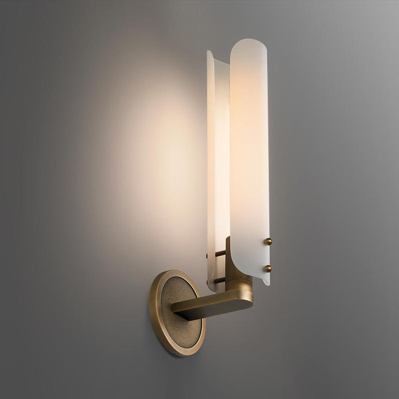 Lianne Gold Glass Sconce Cylinder Lamp Shade Retro Copper Wall Light M40289