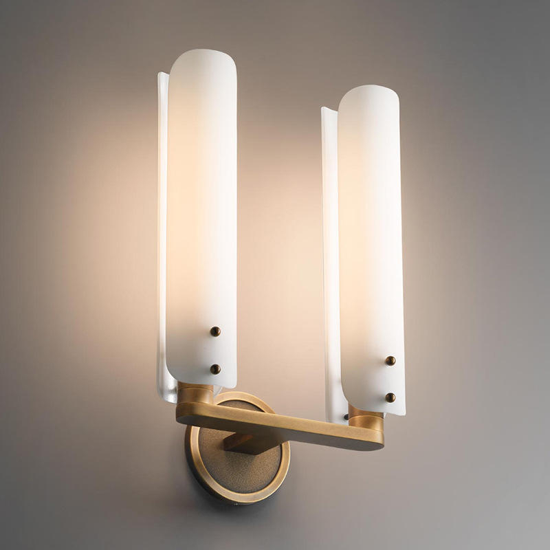 Double Head American Style Cylinder Glass Shade Copper Wall Lamp for Lobby M40290