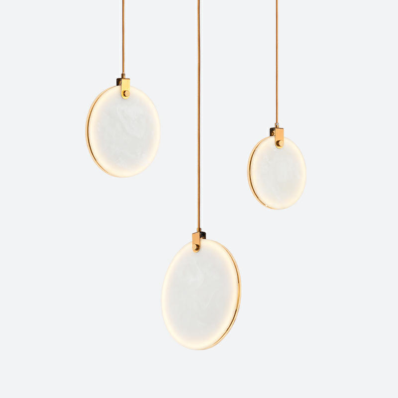 Marble Round Moon Shape Chandelier Pendant Lights Ceiling Hanging LED Lights M10994