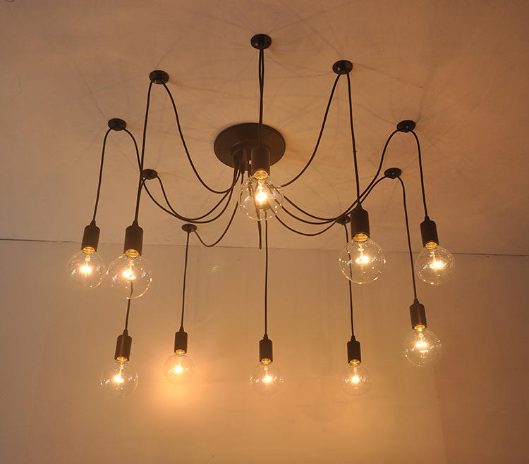 E27/E26 Edison Spider Industrial Retro Chandelier Pendant Light for Living Room Restaurants Loft Cafe M10794