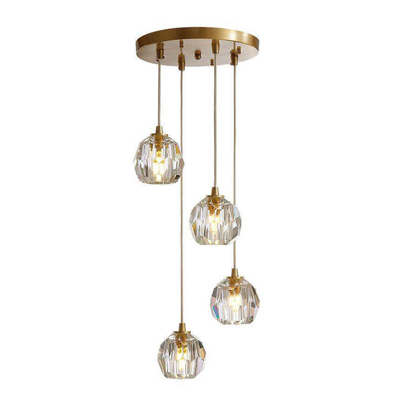 LED G9 Modern Crystal Chandelier Copper Pendant Light for Hotel Foyer M11028