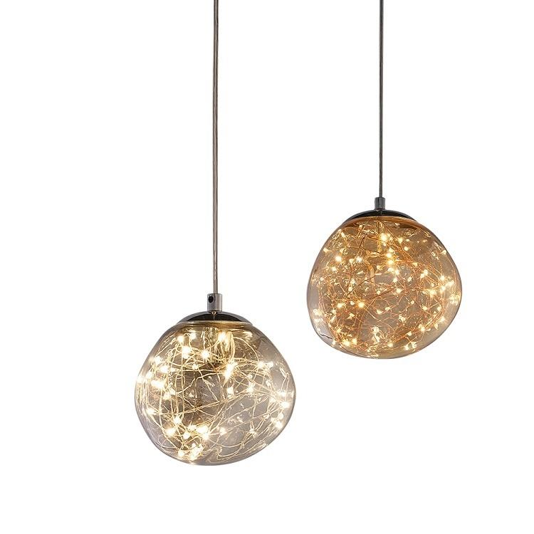 Indoor Modern Decorative Glass Pendant Hanging Copper Wire Lights M11029