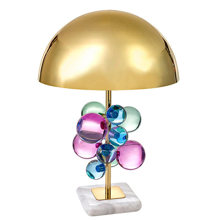 Post Modern Luxury Table Lamps Jewelry Brass and Marble Desk Lamp Hotel Front Desk M20208