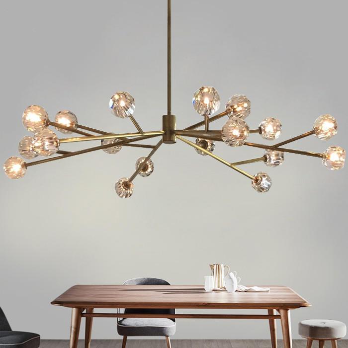 Luxury Indoor Modern Molecular Copper Crystal Chandelier for Hotel Lobby Banquet M11061