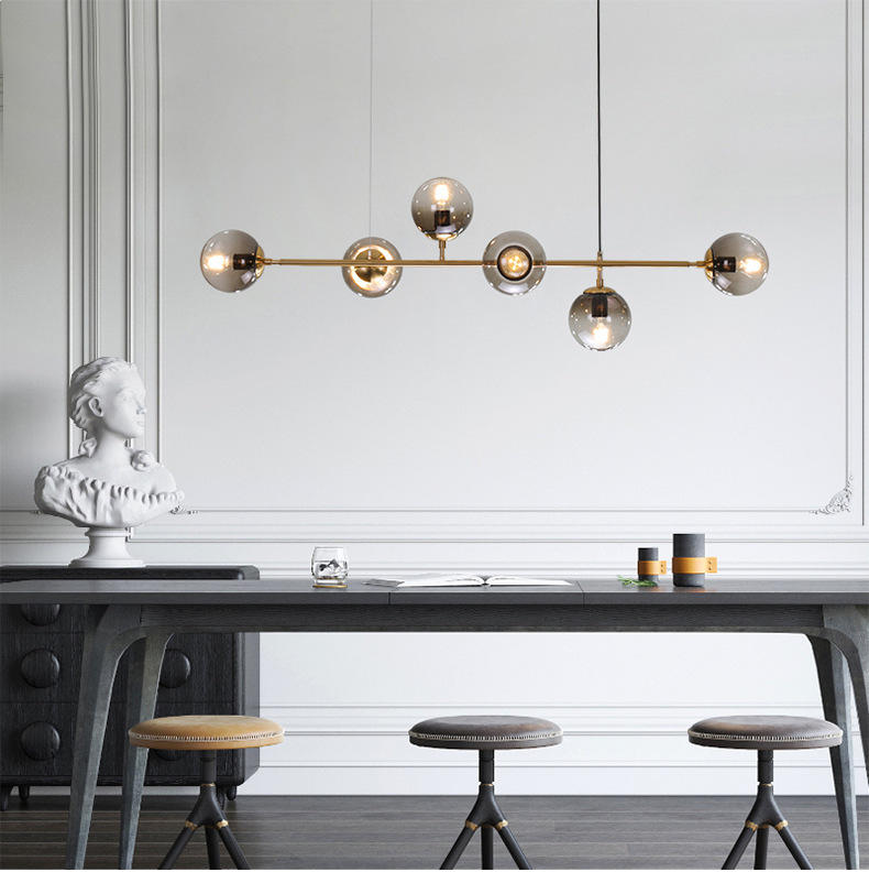 Horizontal Vertical Brass Scandinavian Magic Bean Chandelier M11067