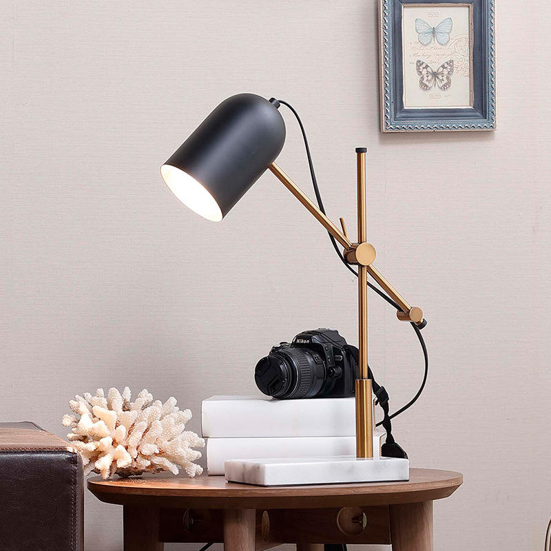 Luxury Style Rotatable Marble Base Brass Table Lamp for Hotel Living Room M20218