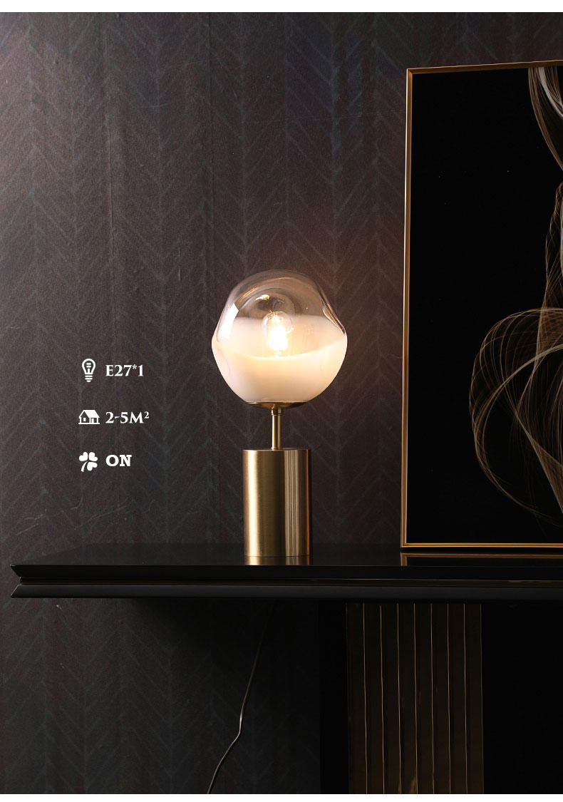 Luxury Style Brass Base White Glass Globe Shade Bedside Table Lamp OEM/ODM Factory M20221