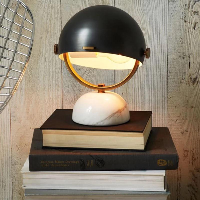 Simple Table Light Black Glass Half Ball Shade Desk Lamp Marble Base M20257